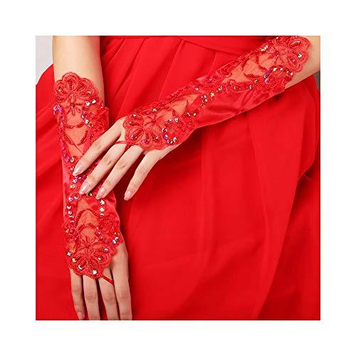 Hochzeitshandschuhe Womens Bankett Party Fingerless elegante Spitze bestickte Brauthandschuhe Arbeitshandschuhe (Color : Red)