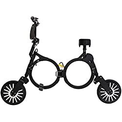 Bicicleta eléctrica -scooter eléctrico plegable con batería recargable de litio 48V (NEGRO), Patinete eléctrico plegable NEOFOLD, Scooter electrico Vel max 20km/h.