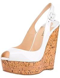 SYYAN Donna Brillante Bianca Peep Toe Sandalo Sughero Pompe Piattaforma  Nozze Scarpe Skyhigh nuziale sandali  0d4f16e02b5