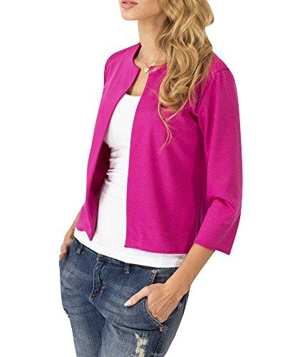 SaiDeng Femme Couleur De Bonbons Blazer Manches 3/4 Cardigan Veste Rose