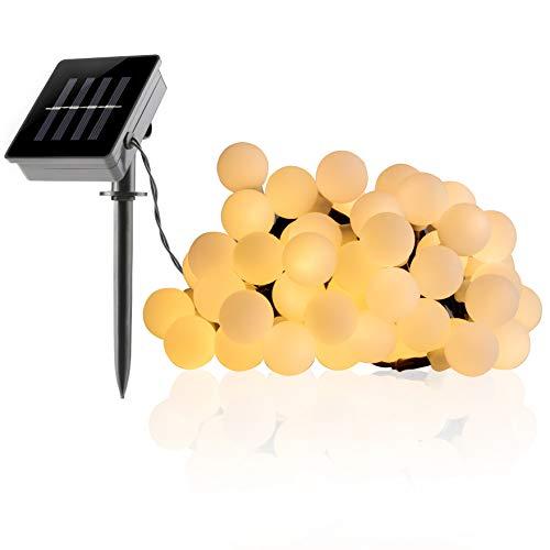 FITFIRST 50er Solar LED Warmweiß Lichterkette,Wasserdicht Außen/Innen Kugel Solarleuchte,7m mit Wandmontage,Dekoration für Weihnachten,Halloween,Geburtstagsfeiern,Thanksgiving Party,Garten