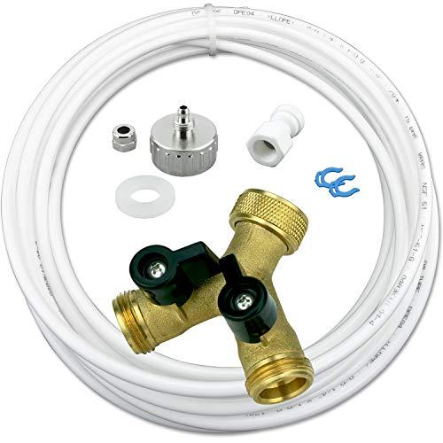 """AS4-10m Wasserzulaufleitung Anschluss Set für Kühlschrank SBS und Spülmaschine oder Waschmaschine 10m Wasserschlauch 1/4"""" (6,35mm) Y-Verteiler 2-Wege Anschluß 3/4"""""""