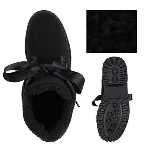 Stiefelparadies Warm Gefütterte Damen Stiefeletten Fell Outdoor Boots Winterschuhe Flandell Schwarz Black Carlet