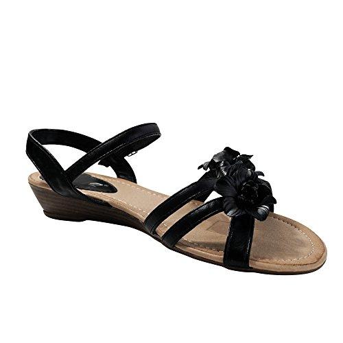 Damen Sandalen Sandaletten Blume Keilabsatz Glitzer ST105 Schwarz ... bebd486dc4