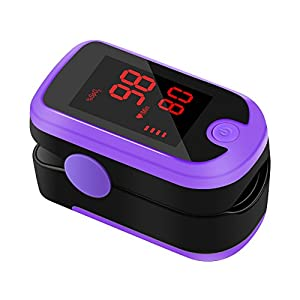 Pulsoximeter, Meerveil Fingeroximeter für Sauerstoffgehalt im Blut SpO2, Herzfrequenz bzw. Pulsfrequenz mit Digitalen LED Bildschirm, zertifiziertes Medizinprodukt, Pulsoximeter Kinder