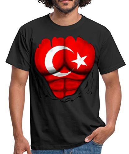 Spreadshirt Türkei Flagge Muskel Männer T-Shirt, S, Schwarz