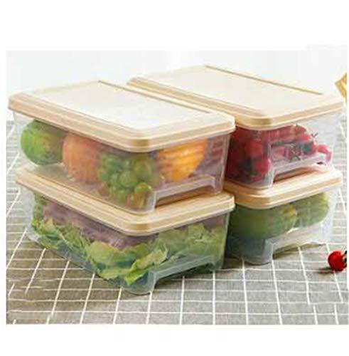 HaushaltsküChe TiefküHlkost Kunststoff Aufbewahrungsbox Lebensmittel VorratsbehäLter, Geeignet FüR Home KüChe, KüHlschrank, BüRo, Schule, 4 StüCk Laden,Beige