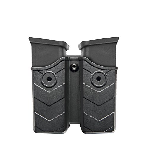 Verstellbar drehbar drehung Doppel-Magazintasche, Glock / H & K / Ruger / Sig Sauer / Springfield / Taurus / Beretta / CZ / Walther / Colt / Kel Tec / Smith & Wesson Magazinhalter mit Gürtelclip, Double Stack Magazin Holster für 9mm / .40 cal-Horleora