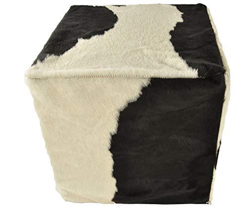 generisch Kuhfell Hocker schwarz Weiss 50x50x50 cm Sitzwürfel aus echtem Kuhfell in schwarz weiß mit Fester Schaumstoff Füllung