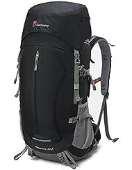 Mountaintop Mochila de Senderismo 50L Para Deporte Aire Libre del Viaje de Acampa con Cubierta de Lluvia-5818III Negro