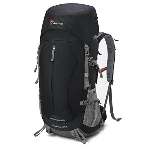 Mountaintop 50+5 L Erwachsene Trekkingrucksack Rucksack mit Regenabdeckung, 64 x 30 x 21 cm