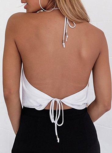 ACHICGIRL Women's Halter Backless Night Club Crop Top white