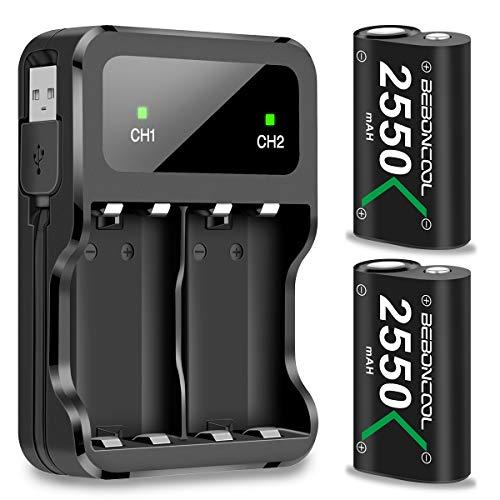 Xbox One Controller Akku, BEBONCOOL Xbox Controller Akku 2-Packs Wiederaufladbare 2550mAh Akku Mit Ladekabel, Dual Xbox Akku ladeatation für Xbox One S/Xbox One X/Xbox One Elite/Xbox One Controller