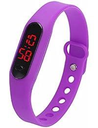 LED Watch Reloj Infantil Demiawaking Relojes Niños/Niñas Chico/Chica Reloj de Pulsera Reloj Digital Unisex Deportes Pulsera de del Silicón del Reloj Digital Deportivo(Violado)