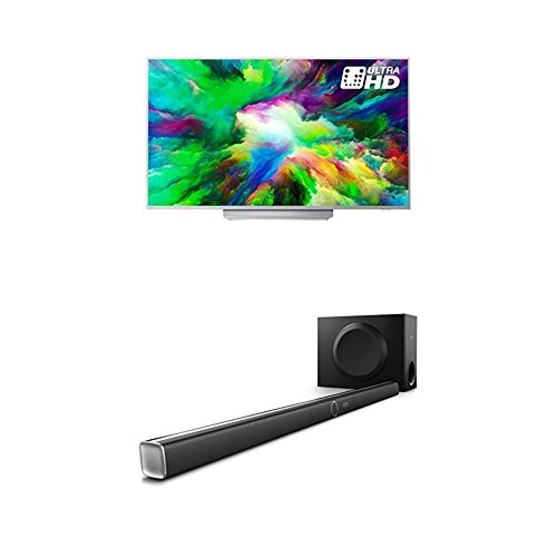 Philips 65PUS7803/12 65-Inch 4K Ultra HD Android Smart TV with HDR Plus, 3-sided Ambilight and Philips HTL5160B/12 3.1 Streaming-Soundbar
