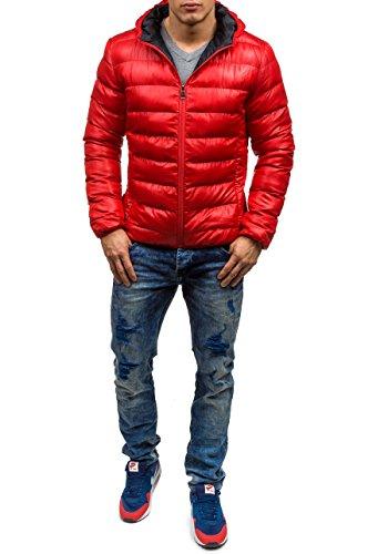 BOLF Herren Winterjacke Sweatjacke Steppjacke Herrenjacke Jacke Mix 4D4 Kapuze Rot_4001