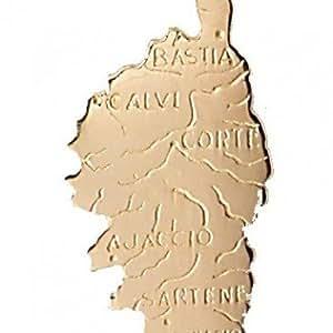 Pendentif Or 1,35 gr Carte de la Corse villes 18 carats