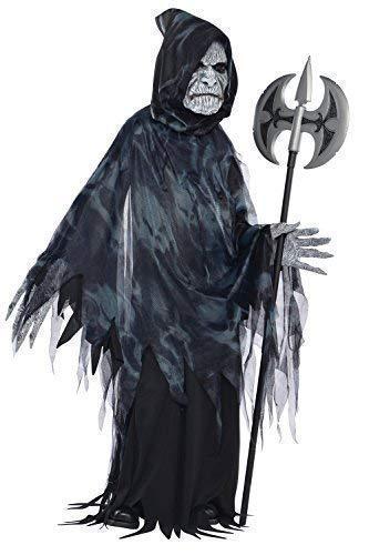Soul Kostüm Sensenmann - Kinder Seelennehmer Halloween Kostüm Sensenmann Ghost Outfit - Schwarz, 14-16 Jahre