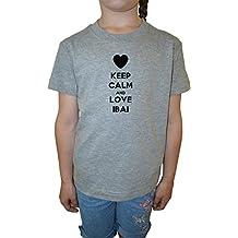 Keep Calm And Love Ibai Filles Enfants T-shirt Cou D'équipage Gris Coton Manches Courtes Girls Kids T-shirt Grey