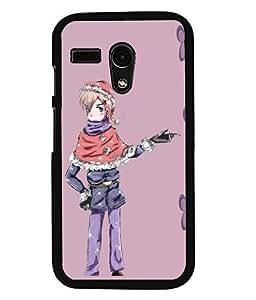PRINTVISA Animated Girl Premium Metallic Insert Back Case Cover for Motorola Moto G - D5632