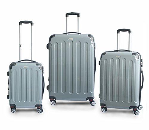 Hochwertiges 3 Teiliges Reise Kofferset Trolley ABS Hartschale in 12 Farben (Anthrazit)