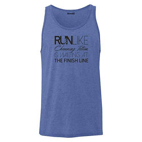 Brand88 - Run Like Channing Tatum Is Waiting, Unisex Jersey Weste Blau Meliert