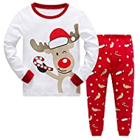 Baby Girls Christmas Pyjamas Set Kids Reindeer Costume Winter Long Sleeve Pjs Nightwear Sleepwear for Toddler Boys Childrens (White Deer, 2-3 Years)