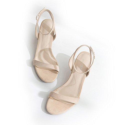 Xy & GK die Kleidung Sommer-Sandale Schnalle Wort all-match Ferse Sandale Leder in Rom, bequem und schön 36 apricot