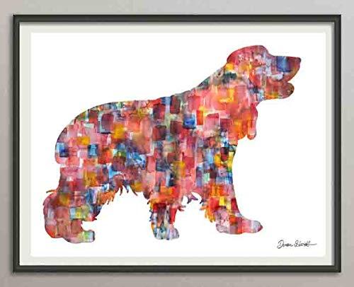 english cocker spaniel 2 Rasse Hunde Hunderasse Fine Art Print Aquarell Silhouette Profil Poster Kunstdruck Plakat modern ungerahmt DIN A 4 Deko Wand Bild -