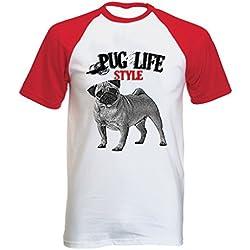 Teesquare1st PUG LIFESTYLE Tshirt con manga corta roja T-shirt Size Large