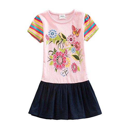 NEAT Mädchen 2017 Kurze Ärmel Baumwolle Kleid 3-8 Jahre SH5803PINK 5T