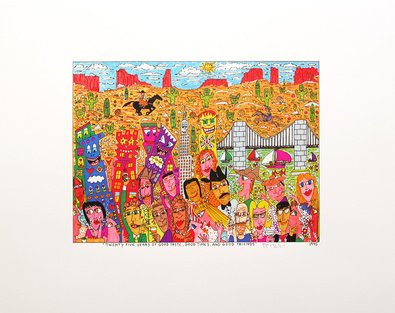 Germanposters James Rizzi Twenty Five Years of Good Taste Good Times and Good Friends Original Grafik Druckgrafik Bild handsigniert 39,5x50cm Ohne Rahmen (Handsignierte Bilder)