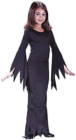 Kinder Mädchen Morticia Addams Family 1960er Jahre Halloween Kostüm Kleid Outfit - EU 122-134 (Morticia Kostüm Zubehör)