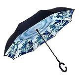 Cokeymove Parasol inversé Parasol inversé Double Couche Coupe-Vent imperméable Parapluie inversé pour Femmes avec Protection UV à l'envers avec poignée en Forme de C Debout Parasol