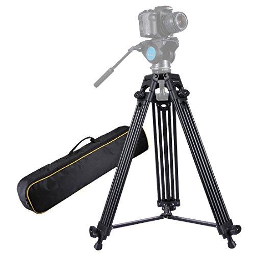 PULUZ - PU3003 Professional Heavy Duty Video Camcorder Aluminium Stativ für DSLR/Digitalkameras-schwarz