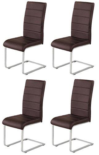 agionda 4 x Polsterstuhl Jan Piet mit hochwertigem PU Kunstleder braun NEU Jetzt 120 kg belastbar einteiliges Gestell Freischwinger Stuhl...