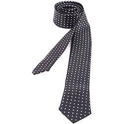 shenky - Corbata estrecha para hombre - Varios colores y motivos - Negro con lunares - 150 cm de largo