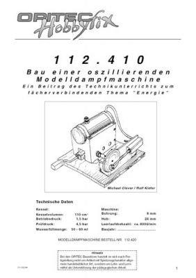 Plan Dampfmaschine ausführliche Version Bausatz und Lernspielzeug K93443 Bausatz für Kinder und Jugendliche