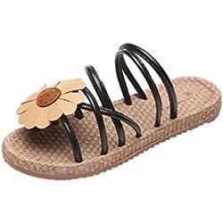 HCFKJ 2017 Mode Frauen Blumen Flip Sandalen Schuhe Comfort Sommer Flops Flat Sandalen (35, schwarz)