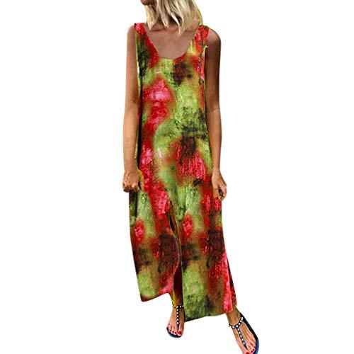 Junjie Frauen Oansatz Sleeveless Tie Dye Printing Beiläufiges Sport Baumwolle maxikleid Pink Grün Rot Lila Ausschnitt ärmelos Chiffon Party samt auschnit Glitzer Bluse -