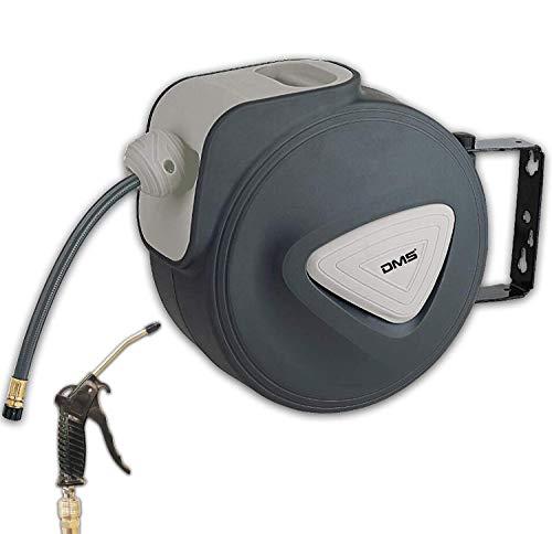 Dms - avvolgitubo automatico ad aria compressa, con avvolgitubo eu 1/4, supporto da parete, avvolgitubo avvolgitubo ad aria compressa dst (20 metri, grigio)
