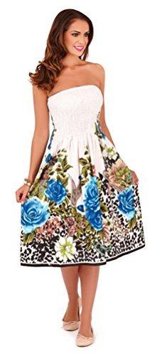 Vestido Veraniego Foral de Dama 3 en 1 de algodón Pistachio, Negro Flor, Pequeña (EU 36-38)