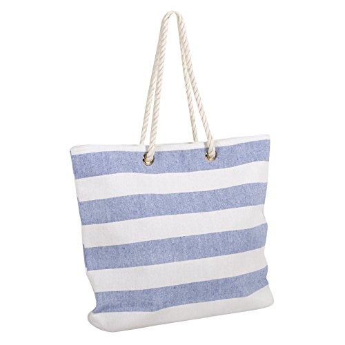 Ladies Blue Stripe Canvas Beach Shoulder Bag Tote Shopping Fashion Zip Handbag