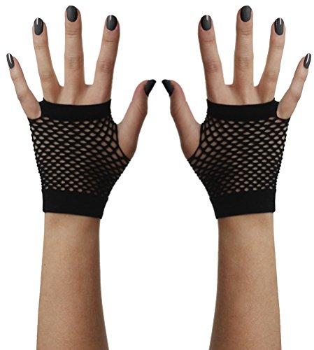 lose Handschuhe Mesh schwarz (Schwarz Mesh Fingerlose Handschuhe)
