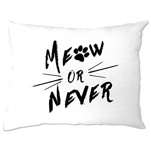 Meow Or Never Katzen Kätzchen Paw Moggy Pun Print Design Slogan Spaß Kissenbezuge