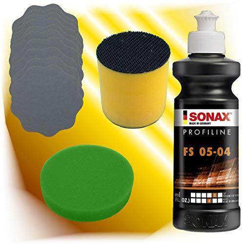 Sonax Schleifpolitur FS 05-04 + Schleifblüten + 1 x Polierschwamm + Schleifklotz