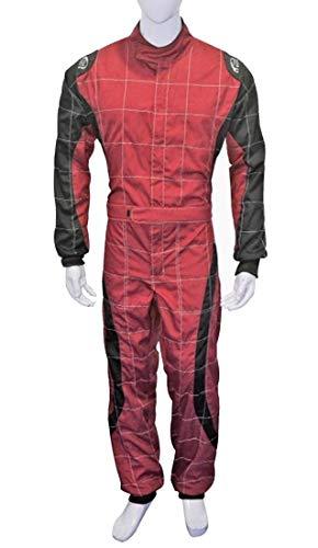 PM Sports Go-Kart-Kart-Anzug, für Erwachsene, Poly-Baumwoll-Mischgewebe, Einteiler, Rot/Schwarz -