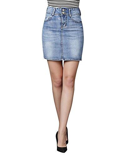 Frauen Elastischer Kurz Jeansrock Hohe Taille Dünner Wickelrock Mit Knöpfen Hellblau M (Wrap Taille Elastische)