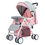 SCJ Faltbarer Kinderwagen, Kinderwagenaufsatz und Kinderwagen, Leichter Faltwagen bis 60 kg mit Liegeposition, Regenschutz,Pink