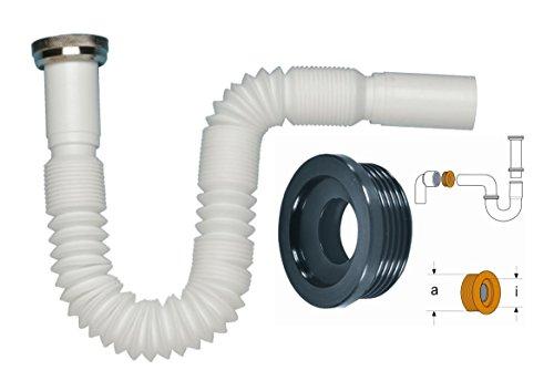 Flexibler Siphon 1 1/4 Inklusive Gummi-Manschette NW 30/40/50 | Ablaufschlauch für Waschbecken | 5/4- Ø 32 mm | Einfache werkzeugfreie Montage | Ausziehbar von 390-865 - 4-zoll-abflussrohr